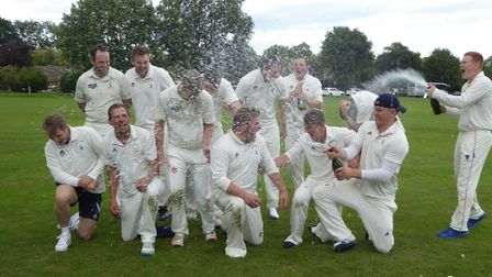 Reed Cricket Club celebrate reaching the National Village Cup final in 2017.