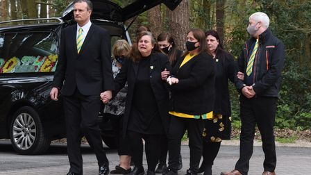 Jordan Hansell's family and friends at his funeral at Colney Wood. Picture: DENISE BRADLEY