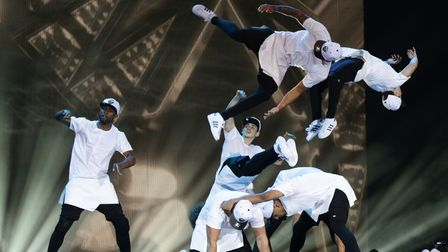 Dance troupe Diversity performing during a dress rehearsal for Sky 1's Got To Dance TV programme, at