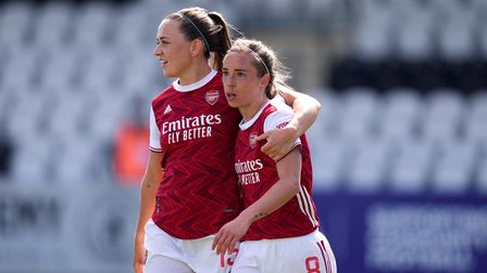 Arsenal's Jordan Nobbs (right) celebrates scoring their side's second goal of the game with team-mat