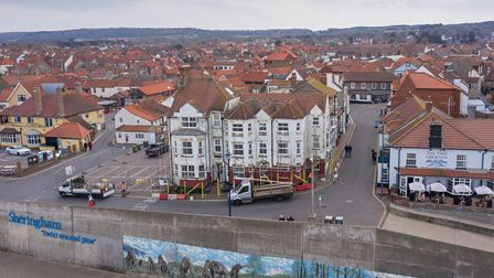 Scaffolding has gone up around the former Shannocks hotel in Sheringham ahead of its demolition.