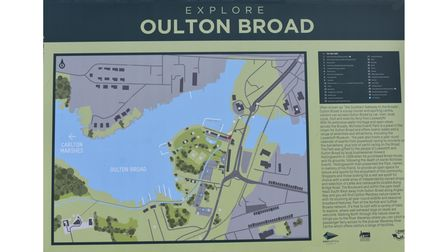 The explore Oulton Broad sign