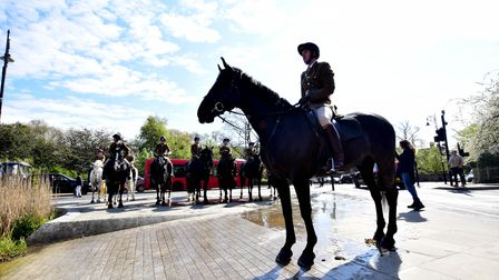 A horse and rider of the Household Cavalry stand to attention by Whitestone Pond