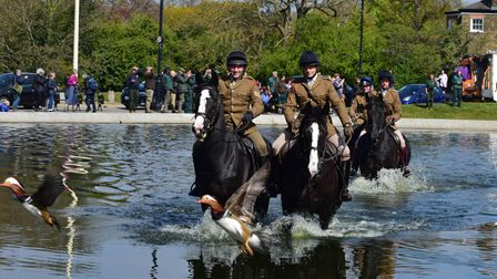 The horses of the Household Cavalry had a splashing time at Whitestone Pond