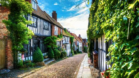 Charming houses in beautiful, cobbled Mermaid Street, Rye, England