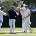 Hornchurch Athletic claim the last Rettendon wicket during Hornchurch Athletic CC vs Rettendon & Ray