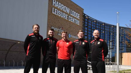 Hornchurch FC players Remi Sutton,Ollie Muldoon,Liam Nash and Charlie Stimson with club manager Mark