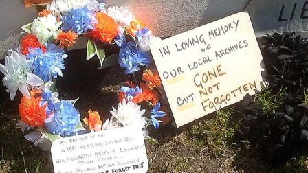 Members of the SORO group laid wreaths as lorry loads of original Lowestoft Record Office archives left town.