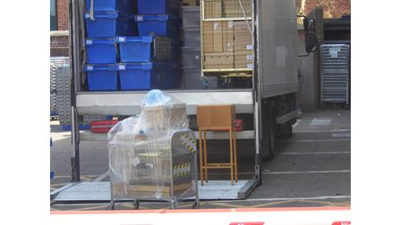 A lorry being loaded up at Lowestoft Record Office ahead of transferring archives to The Hold in Ipswich.