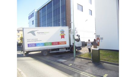A lorryarrives at Lowestoft Record Office ahead of transferring archivestoThe Hold in Ipswich.