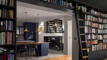 Bespoke library wall in Highgate home, designed by Kentish Town's Mulroy Architects.
