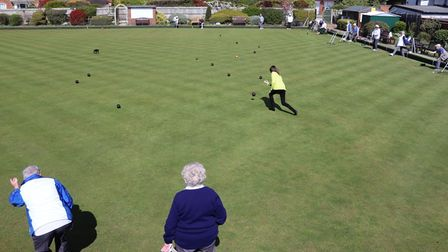 Councillor Annie Brewster bowls on Townsend Bowls Club's official opening day.