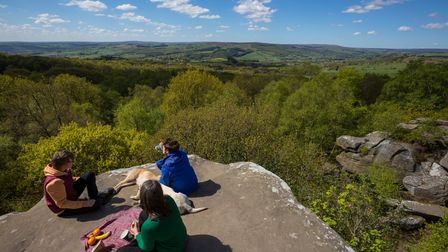 Visitors at Brimham Rocks, North Yorkshire. Brimham Rocks is an amazing collection of weird and wond
