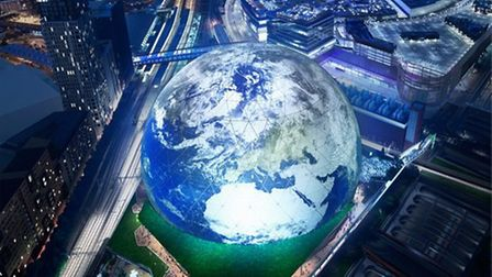 A computer-generated image of the proposed MSG Sphere where almost 2,000 people have expressed an in