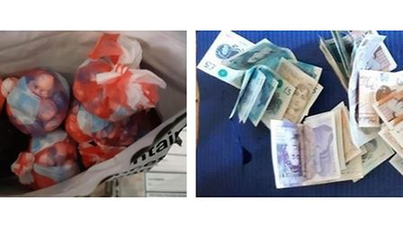 Suspected Class A drugs and £2,000 in cash were seized from the property in Burrell Road
