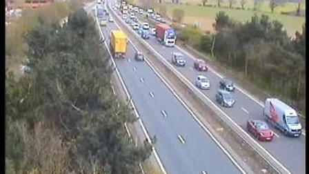 Police have closed one lane of the A14 near the Orwell Bridge due to the spill
