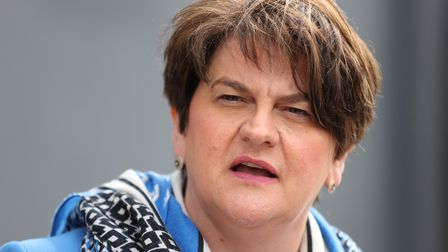 Northern Ireland's First Minister Arlene Foster answers questions on her leadership during a visit t