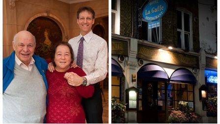 Bernardo, Androulla and Lorenzo Stella, the family who have run La Gaffe for 59 years in Hampstead
