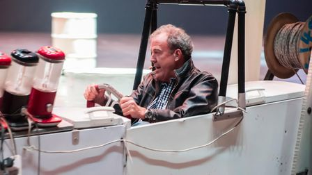 EPXWH9 Belfast, Northern Ireland. 22 May 2015 - Jeremy Clarkson drives an electric vehicle made out