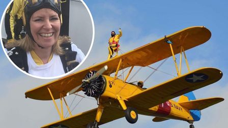 Angela gears up for charity wing walk