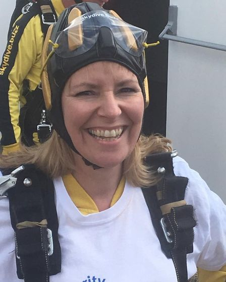 Angela Atkins Phillips pictured during a skydive for Hospiscare