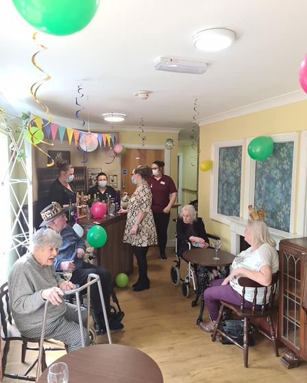 Iceni House residents take their seat in the Pickering Arms.