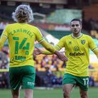 Todd Cantwell of Norwich and Emiliano Buendia of Norwich during the Sky Bet Championship match at Ca