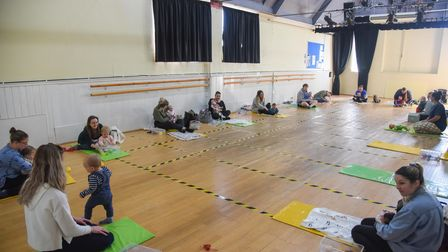 A baby sensory class taking place at The Seagull Theatre in Lowestoft now that is has re-opened. Pic