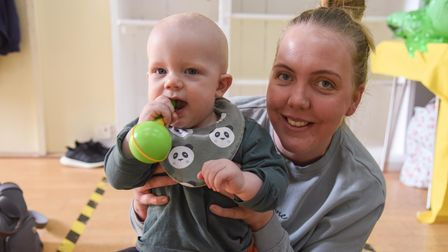 Rosie Willis with baby Harry taking part in a baby sensory class at the re-opened Seagull Theatre in