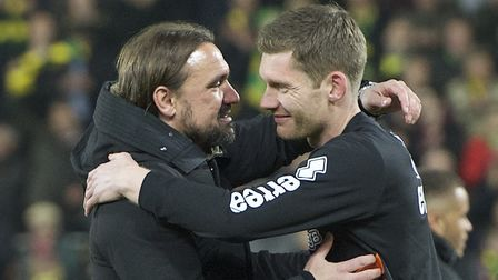 Canaries head coach Daniel Farke and keeper Michael McGovern, right, during last season's promotion