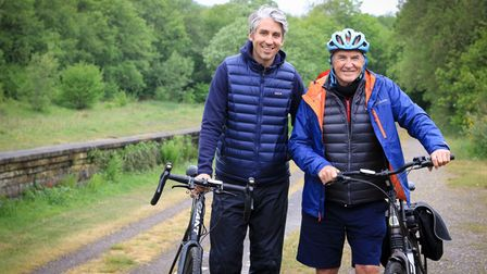 Britain by bike - TV stars Larry and George Lamb on the Monsal Trail