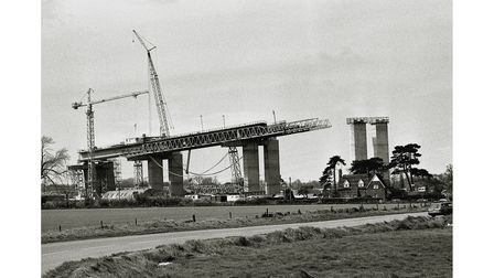 The Orwell Bridge construction at Wherstead in April 1981