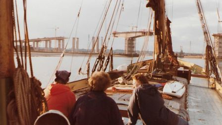 Watching the construction of the Orwell Bridge from on board the Thames barge Ena