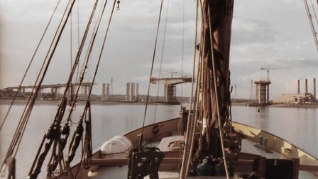 A view of the Orwell Bridge construction in 1981 from on board the Ena