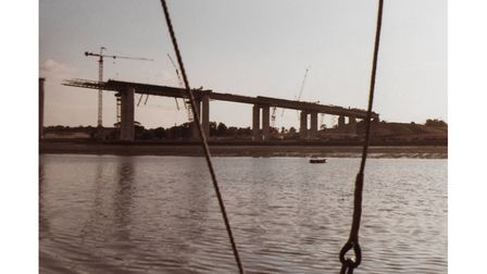 Construction of the Orwell Bridge in 1981