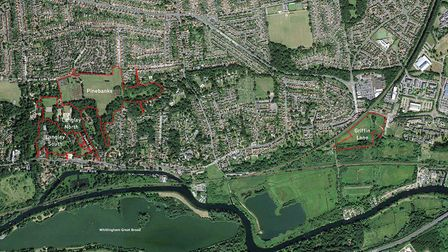 An aerial view of the four sites which are being earmarked for development in Thorpe St Andrew
