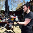 Table service in the garden at The Garden Gate pub on South End Green 17.04.21. Pictured carrying dr