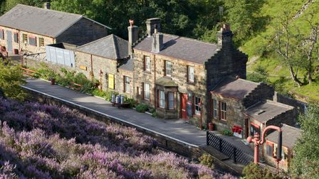 Goathland Train Station on the North Yorkshire Moors Railway in the North York Moors National Park.