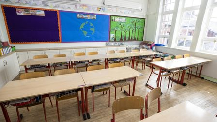 Empty classroom at Springfield Primary School in Belfast as primary 1 through to 3 children return t