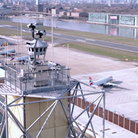 The digital air traffic control tower at London City Airport.