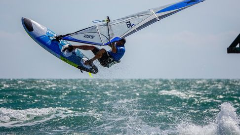 Simon Bassett enjoying the conditions on his windsurf board at West Wittering beach
