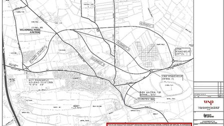 The three options being considered for the Banwell Bypass.