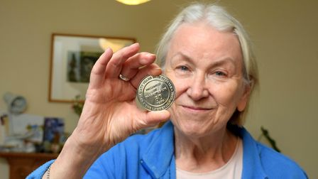 Jan Pollock with her Robert Lawrence medal, awarded by Diabetes UK for living with diabetes for over 60 years
