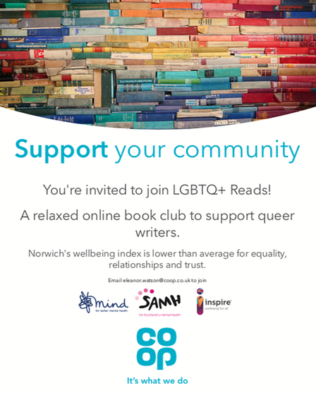 An LGBTQ+ online book club is being launched by Norwich Co-op this year