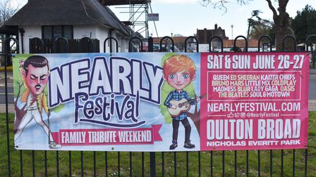 Banners up in Nicholas Everitt Park to promote the Nearly Festival Oulton Broad 2021 family tribute weekend.