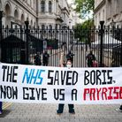Nurses from central London hospitals protest for international nurses day about the chronic underfun