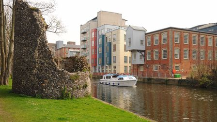 The City of Norwich viewed from the River Wensum