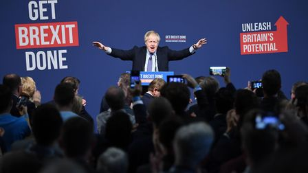 Boris Johnson at the launch of his party's general election manifesto in Telford. Photograph: Stefan