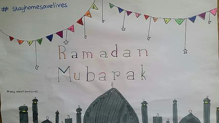 A poster made by Khaled Noor's daughter for Ramadan