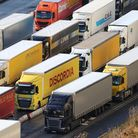 Lorries queue for the frontier control area at the Port of Dover in Kent, where freight Channel traf